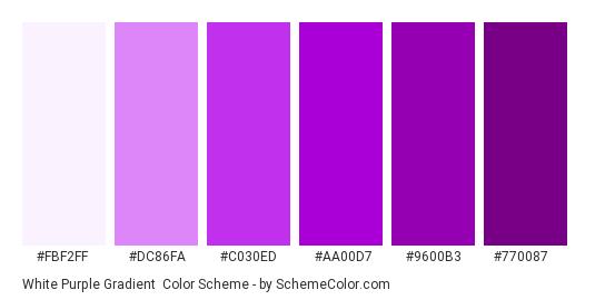 White Purple Gradient - Color scheme palette thumbnail - #fbf2ff #dc86fa #c030ed #aa00d7 #9600b3 #770087