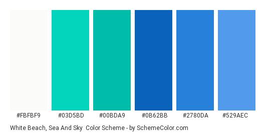 White Beach, Sea and Sky - Color scheme palette thumbnail - #fbfbf9 #03d5bd #00bda9 #0b62bb #2780da #529aec