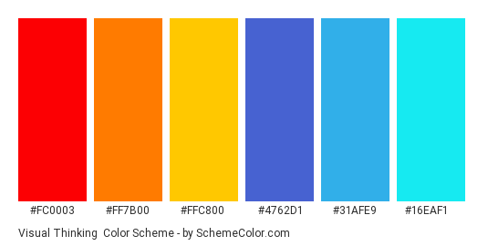 Visual Thinking - Color scheme palette thumbnail - #fc0003 #ff7b00 #ffc800 #4762d1 #31afe9 #16eaf1
