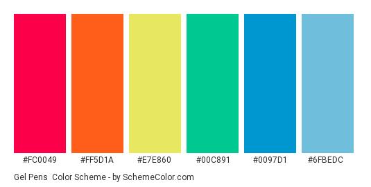 Gel Pens - Color scheme palette thumbnail - #fc0049 #ff5d1a #e7e860 #00c891 #0097d1 #6fbedc