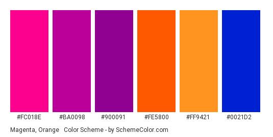 Magenta, Orange & Blue - Color scheme palette thumbnail - #fc018e #ba0098 #900091 #fe5800 #ff9421 #0021d2