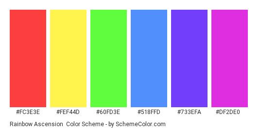 Rainbow Ascension - Color scheme palette thumbnail - #fc3e3e #fef44d #60fd3e #518ffd #733efa #df2de0