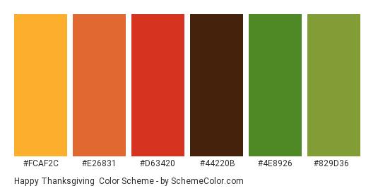 Happy Thanksgiving - Color scheme palette thumbnail - #fcaf2c #e26831 #d63420 #44220b #4e8926 #829d36