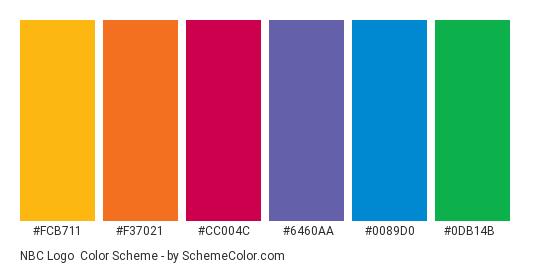 NBC Logo - Color scheme palette thumbnail - #fcb711 #f37021 #cc004c #6460aa #0089d0 #0db14b