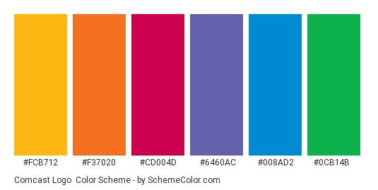 Comcast Logo - Color scheme palette thumbnail - #fcb712 #f37020 #cd004d #6460ac #008ad2 #0cb14b