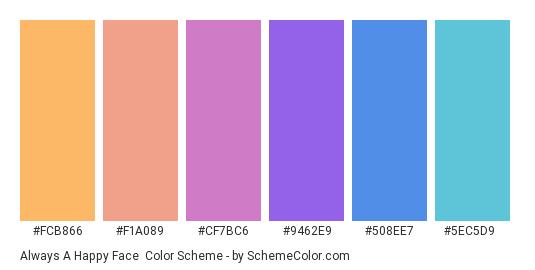 Always a Happy Face - Color scheme palette thumbnail - #fcb866 #f1a089 #cf7bc6 #9462e9 #508ee7 #5ec5d9