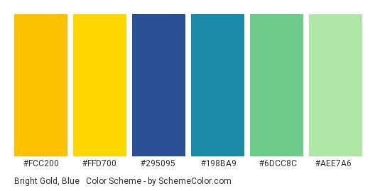 Bright Gold, Blue & Green - Color scheme palette thumbnail - #fcc200 #ffd700 #295095 #198ba9 #6dcc8c #aee7a6