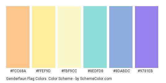 Genderfaun Flag Colors - Color scheme palette thumbnail - #fcc68a #ffef9d #fbf9cc #8edfd8 #8dabdc #9781eb