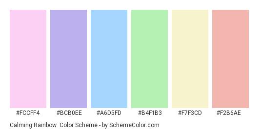 Calming Rainbow - Color scheme palette thumbnail - #fccff4 #bcb0ee #a6d5fd #b4f1b3 #f7f3cd #f2b6ae