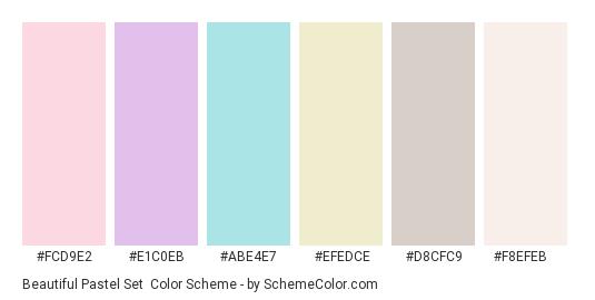 Beautiful Pastel Set - Color scheme palette thumbnail - #fcd9e2 #e1c0eb #abe4e7 #efedce #d8cfc9 #f8efeb