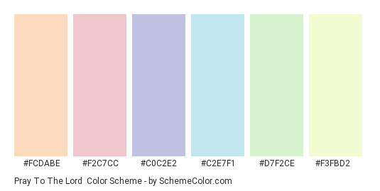 Pray to the Lord - Color scheme palette thumbnail - #fcdabe #f2c7cc #c0c2e2 #c2e7f1 #d7f2ce #f3fbd2