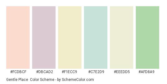 Gentle Place - Color scheme palette thumbnail - #fcdbcf #dbcad2 #f1ecc9 #c7e2d9 #eeedd5 #afd8a9