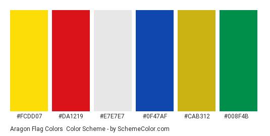 Aragon Flag Colors - Color scheme palette thumbnail - #fcdd07 #da1219 #e7e7e7 #0f47af #cab312 #008f4b