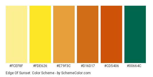 Edge Of Sunset - Color scheme palette thumbnail - #fcef8f #fde626 #e79f3c #d16d17 #cd5406 #00664c