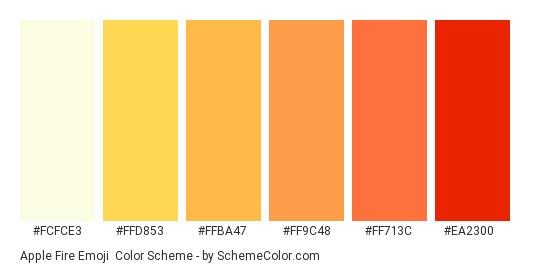 Apple Fire Emoji - Color scheme palette thumbnail - #fcfce3 #ffd853 #ffba47 #ff9c48 #ff713c #ea2300