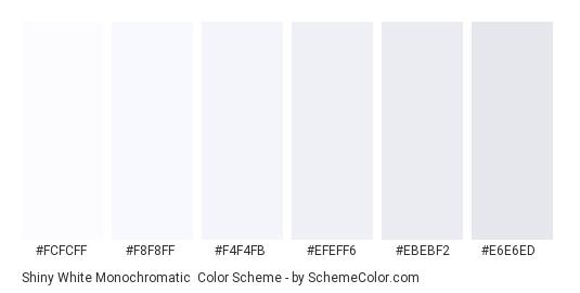 Shiny White Monochromatic - Color scheme palette thumbnail - #fcfcff #F8F8FF #F4F4FB #EFEFF6 #EBEBF2 #E6E6ED