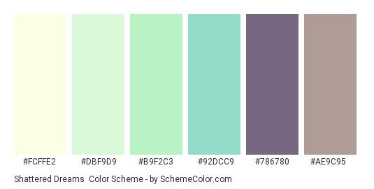 Shattered Dreams - Color scheme palette thumbnail - #fcffe2 #dbf9d9 #b9f2c3 #92dcc9 #786780 #ae9c95
