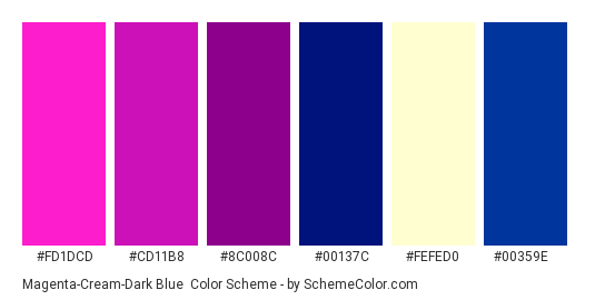 Magenta-Cream-Dark Blue - Color scheme palette thumbnail - #fd1dcd #cd11b8 #8c008c #00137c #fefed0 #00359e