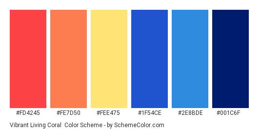 Vibrant Living Coral - Color scheme palette thumbnail - #fd4245 #fe7d50 #fee475 #1f54ce #2e8bde #001c6f