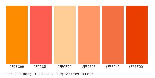 Feminine Orange - Color scheme palette thumbnail - #fd8c00 #fd5c51 #fece96 #ff9767 #f37042 #e93e00