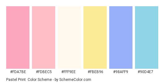 Pastel Print - Color scheme palette thumbnail - #fda7be #fdbec5 #fff9ee #fbeb96 #98aff9 #90d4e7