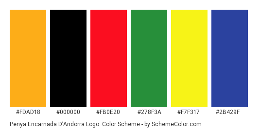 Penya Encarnada d'Andorra Logo - Color scheme palette thumbnail - #fdad18 #000000 #fb0e20 #278f3a #f7f317 #2b429f