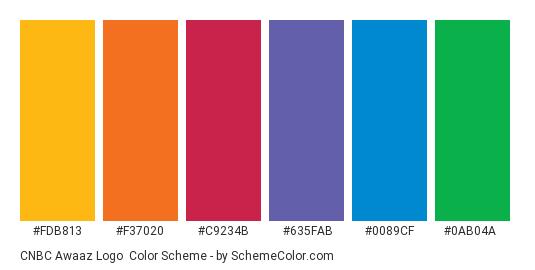 CNBC Awaaz logo - Color scheme palette thumbnail - #fdb813 #f37020 #c9234b #635fab #0089cf #0ab04a