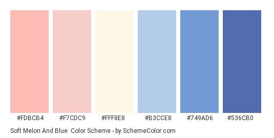 Soft Melon and Blue - Color scheme palette thumbnail - #fdbcb4 #f7cdc9 #fff8e8 #b3cce8 #749ad6 #536cb0