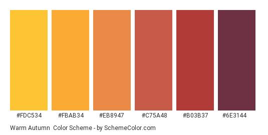 Warm Autumn - Color scheme palette thumbnail - #fdc534 #fbab34 #eb8947 #c75a48 #b03b37 #6e3144