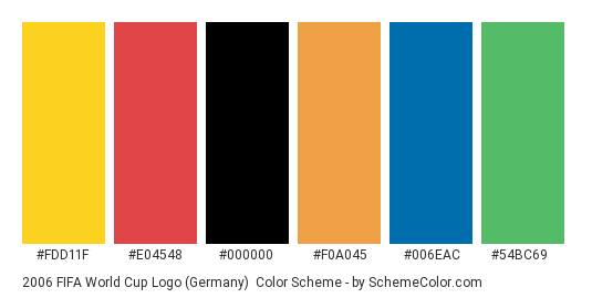 2006 FIFA World Cup Logo (Germany) - Color scheme palette thumbnail - #fdd11f #e04548 #000000 #f0a045 #006eac #54bc69