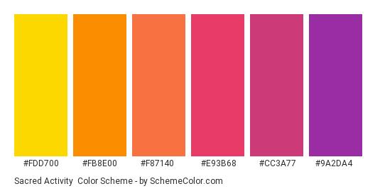 Sacred Activity - Color scheme palette thumbnail - #fdd700 #fb8e00 #f87140 #e93b68 #cc3a77 #9a2da4