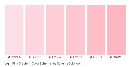 Light Pink Gradient - Color scheme palette thumbnail - #fddde6 #fdd5df #fecdd7 #fec6d0 #ffbec8 #ffb6c1