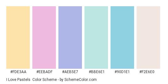 I Love Pastels - Color scheme palette thumbnail - #fde3aa #eebadf #aeb5e7 #bbe6e1 #90d1e1 #f2e6e0