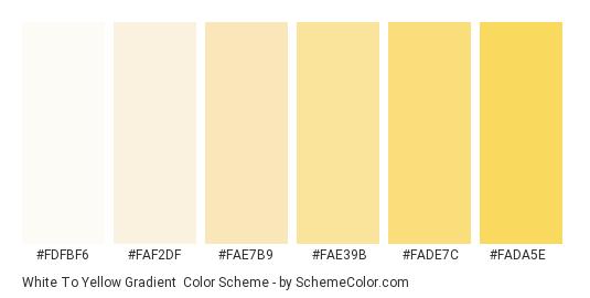 White to Yellow Gradient - Color scheme palette thumbnail - #fdfbf6 #faf2df #FAE7B9 #FAE39B #FADE7C #FADA5E