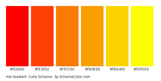Hot Gradient - Color scheme palette thumbnail - #fe0000 #fe3f02 #f97c00 #fb9e00 #fbd400 #fdfd04