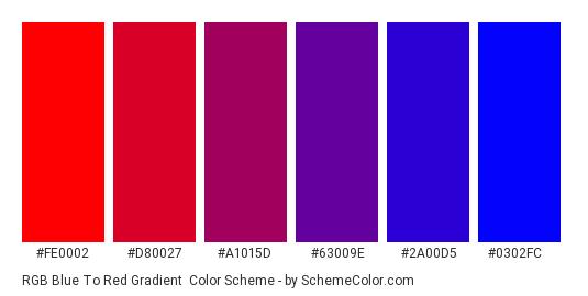 RGB Blue to Red Gradient - Color scheme palette thumbnail - #fe0002 #d80027 #a1015d #63009e #2a00d5 #0302fc