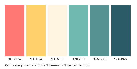 Contrasting Emotions - Color scheme palette thumbnail - #fe7874 #fed16a #fff5e0 #70b9b1 #559291 #2a5b66