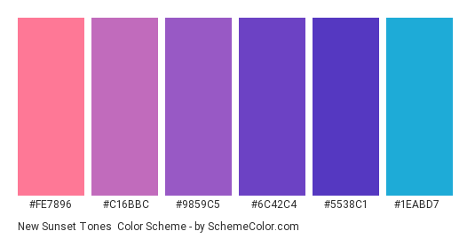 New Sunset Tones - Color scheme palette thumbnail - #fe7896 #c16bbc #9859c5 #6c42c4 #5538c1 #1eabd7