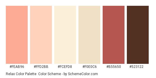 Relax Color Palette - Color scheme palette thumbnail - #feab96 #ffd2bb #fcefd8 #f0e0c6 #b55650 #523122