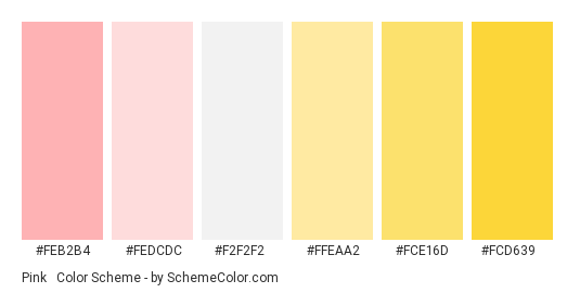 Pink & Yellow - Color scheme palette thumbnail - #feb2b4 #fedcdc #f2f2f2 #ffeaa2 #fce16d #fcd639