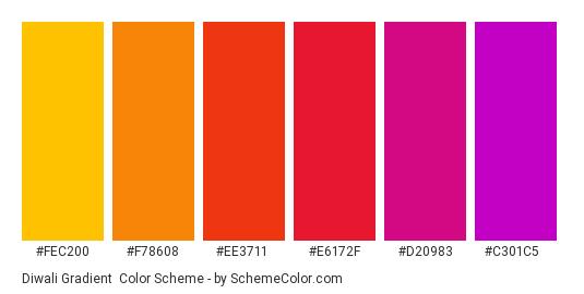 Diwali Gradient - Color scheme palette thumbnail - #fec200 #f78608 #ee3711 #e6172f #d20983 #c301c5