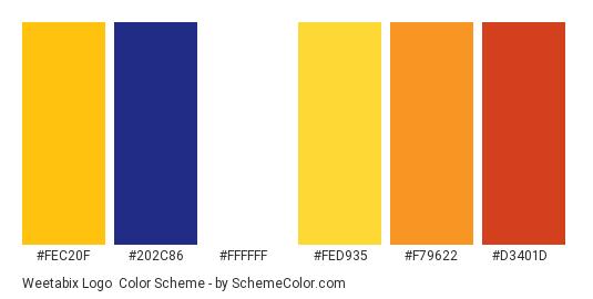 Weetabix Logo - Color scheme palette thumbnail - #fec20f #202c86 #ffffff #fed935 #f79622 #d3401d