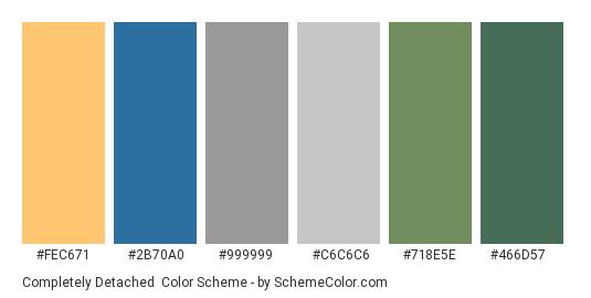 Completely Detached - Color scheme palette thumbnail - #fec671 #2b70a0 #999999 #c6c6c6 #718e5e #466d57