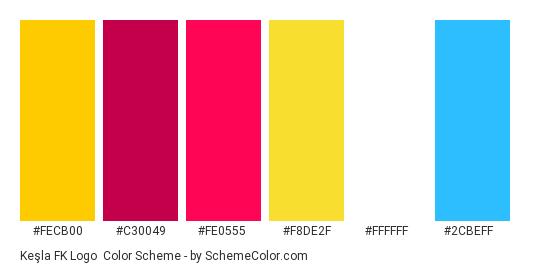 Keşla FK Logo - Color scheme palette thumbnail - #fecb00 #c30049 #fe0555 #f8de2f #ffffff #2cbeff