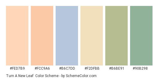 Turn a New Leaf - Color scheme palette thumbnail - #fed7b9 #fcc9a6 #b6c7dd #f2dfbb #b6be91 #90b298
