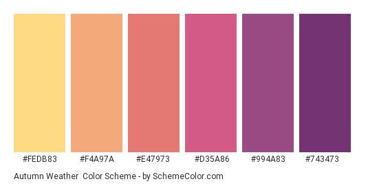 Autumn Weather - Color scheme palette thumbnail - #fedb83 #f4a97a #e47973 #d35a86 #994a83 #743473