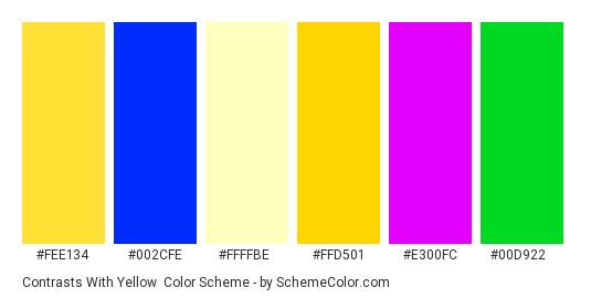 Contrasts with Yellow - Color scheme palette thumbnail - #fee134 #002cfe #ffffbe #ffd501 #e300fc #00d922