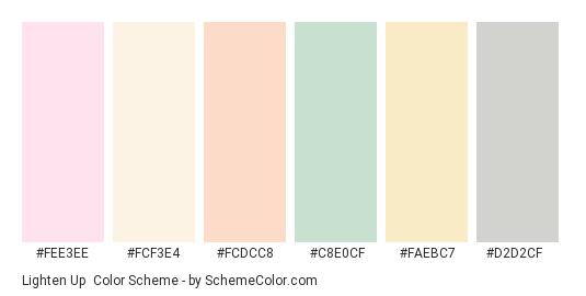 Lighten Up - Color scheme palette thumbnail - #fee3ee #fcf3e4 #fcdcc8 #c8e0cf #faebc7 #d2d2cf