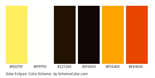Solar Eclipse - Color scheme palette thumbnail - #feef5f #fffffd #221300 #0f0800 #ffa400 #e84600