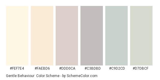 Gentle Behaviour - Color scheme palette thumbnail - #fef7e4 #faebd6 #ddd0ca #c3bdbd #c9d2cd #d7dbcf
